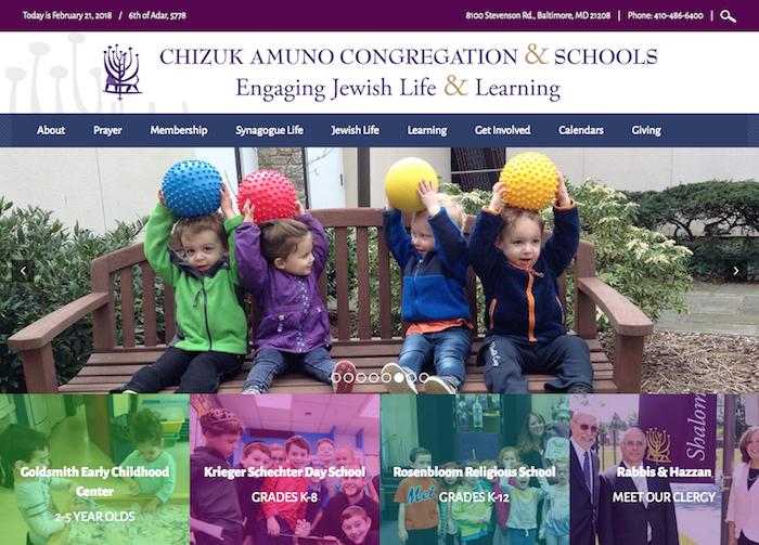 Chizuk Amuno Congregation - synagogue website design