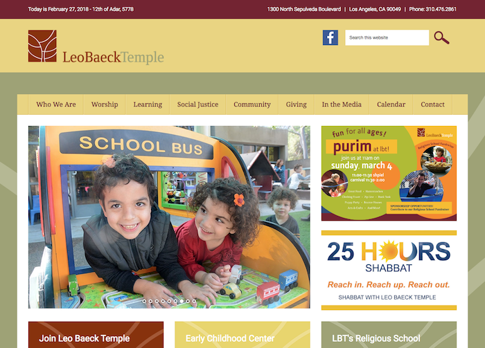 Leo Baeck Temple - best synagogue website