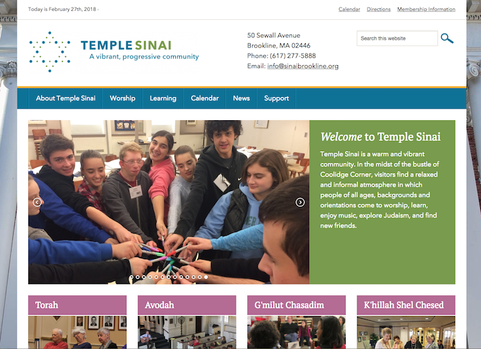 Temple Sinai - best synagogue websites