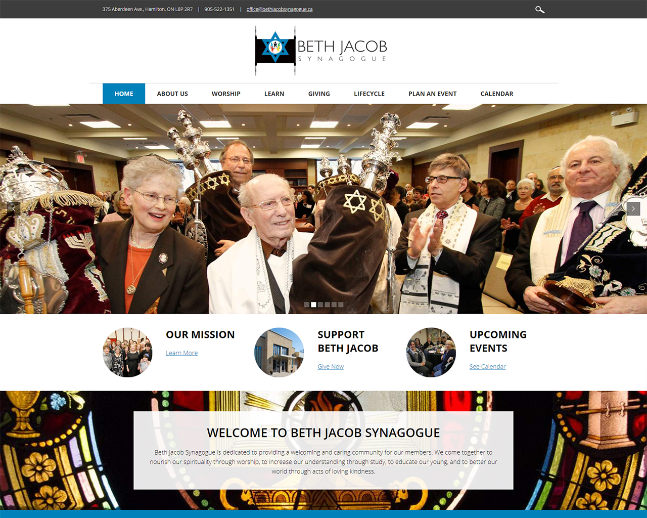 Beth Jacob - synagogue website design