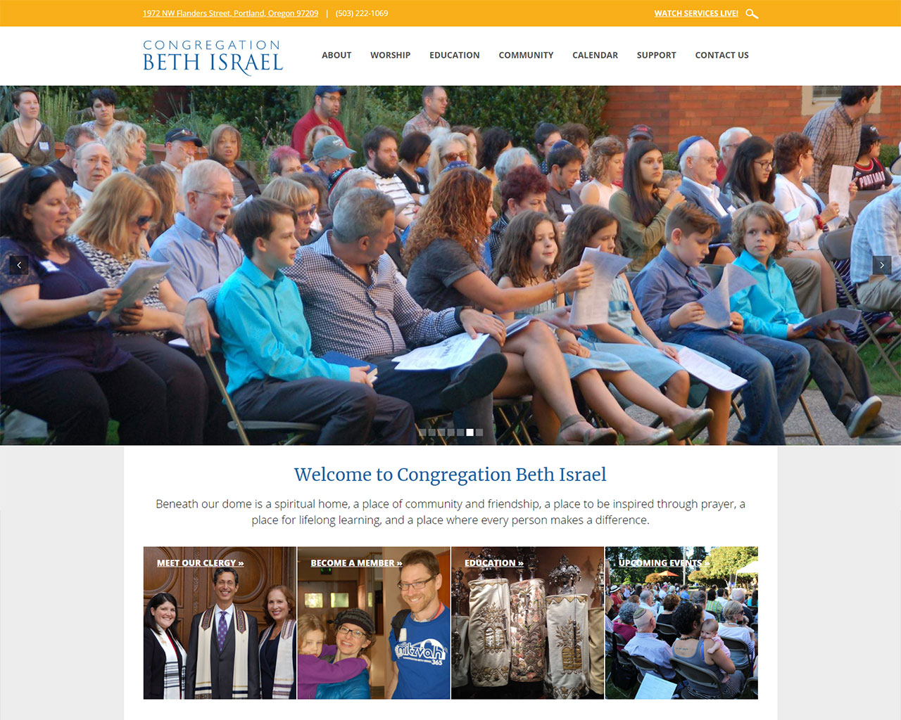 Beth Israel - Portland - synagogue website design