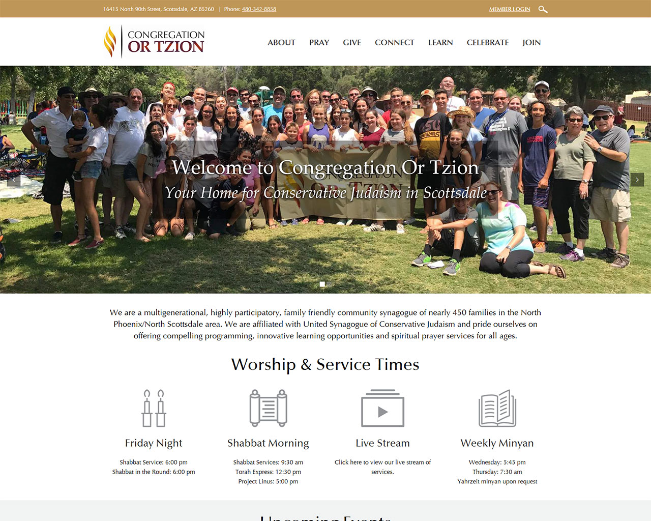 Congregation Or Tzion - synagogue website homepage design