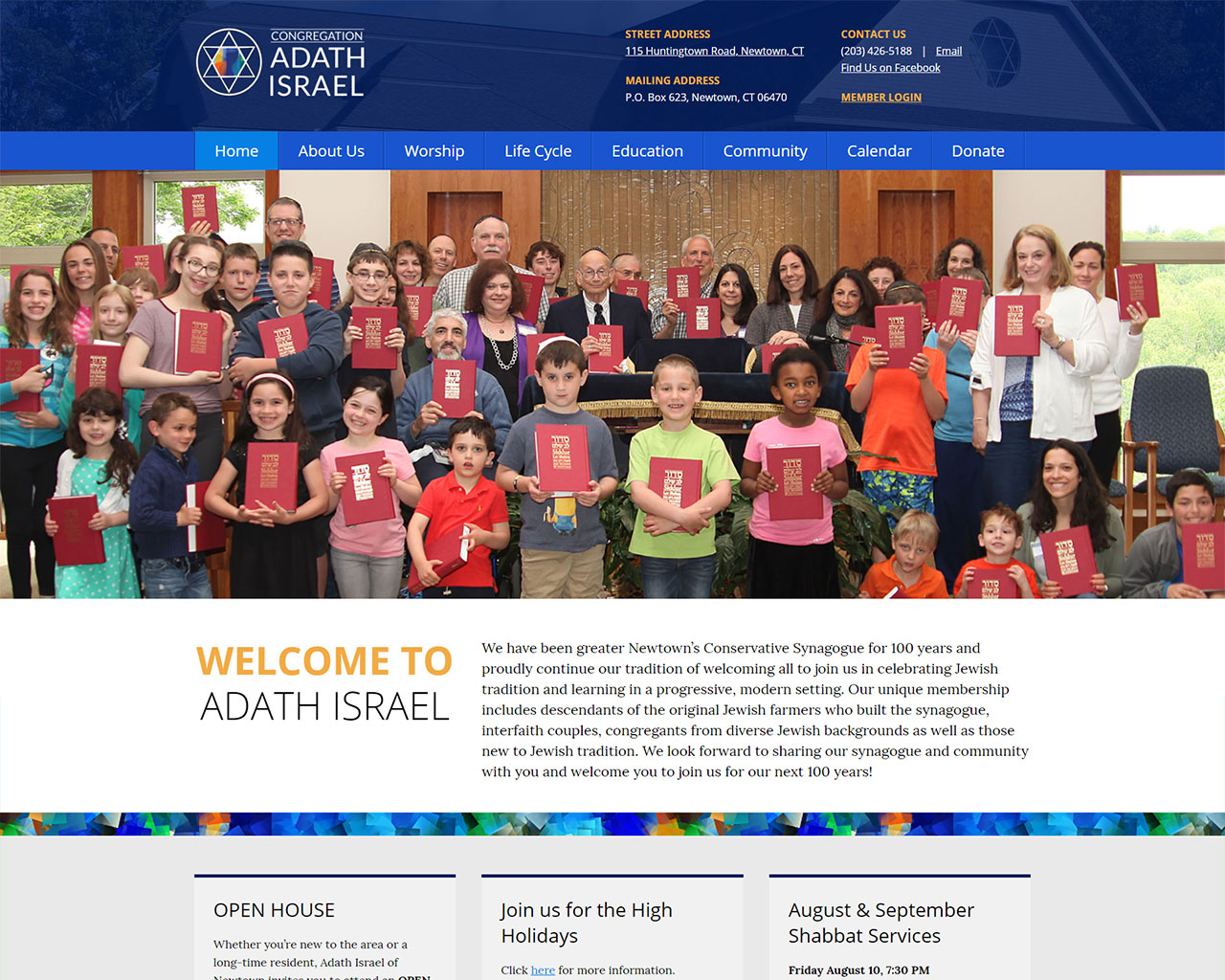Adath Israel - synagogue website design homepage