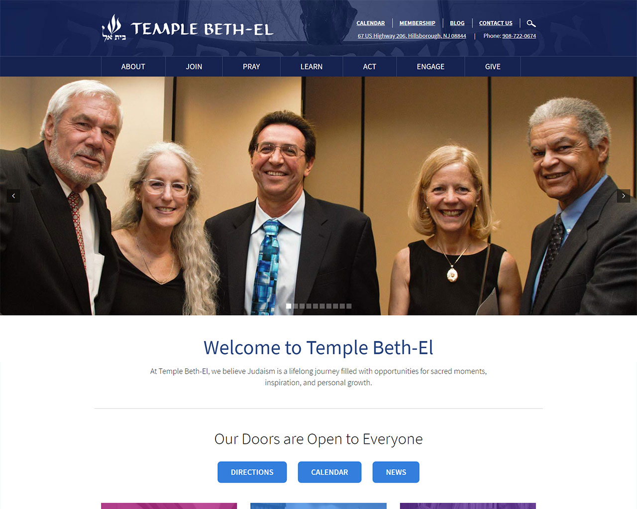 Temple Beth El - synagogue website design