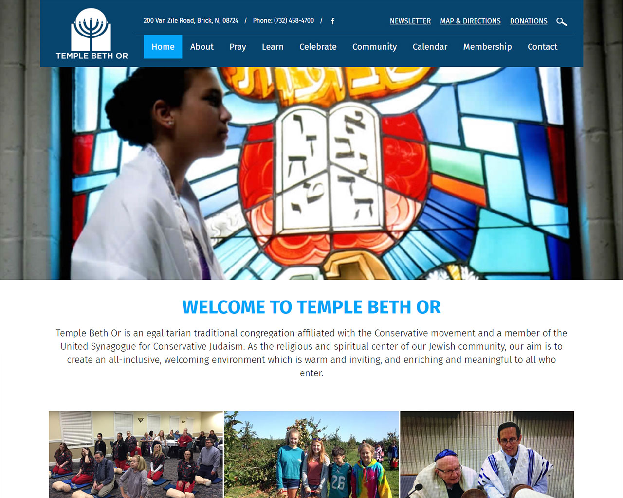 Temple Beth Or - synagogue website homepage design