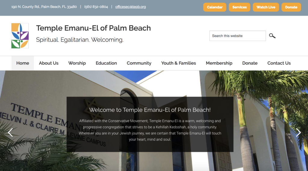 Temple Emanu-el of Palm Beach  homepage