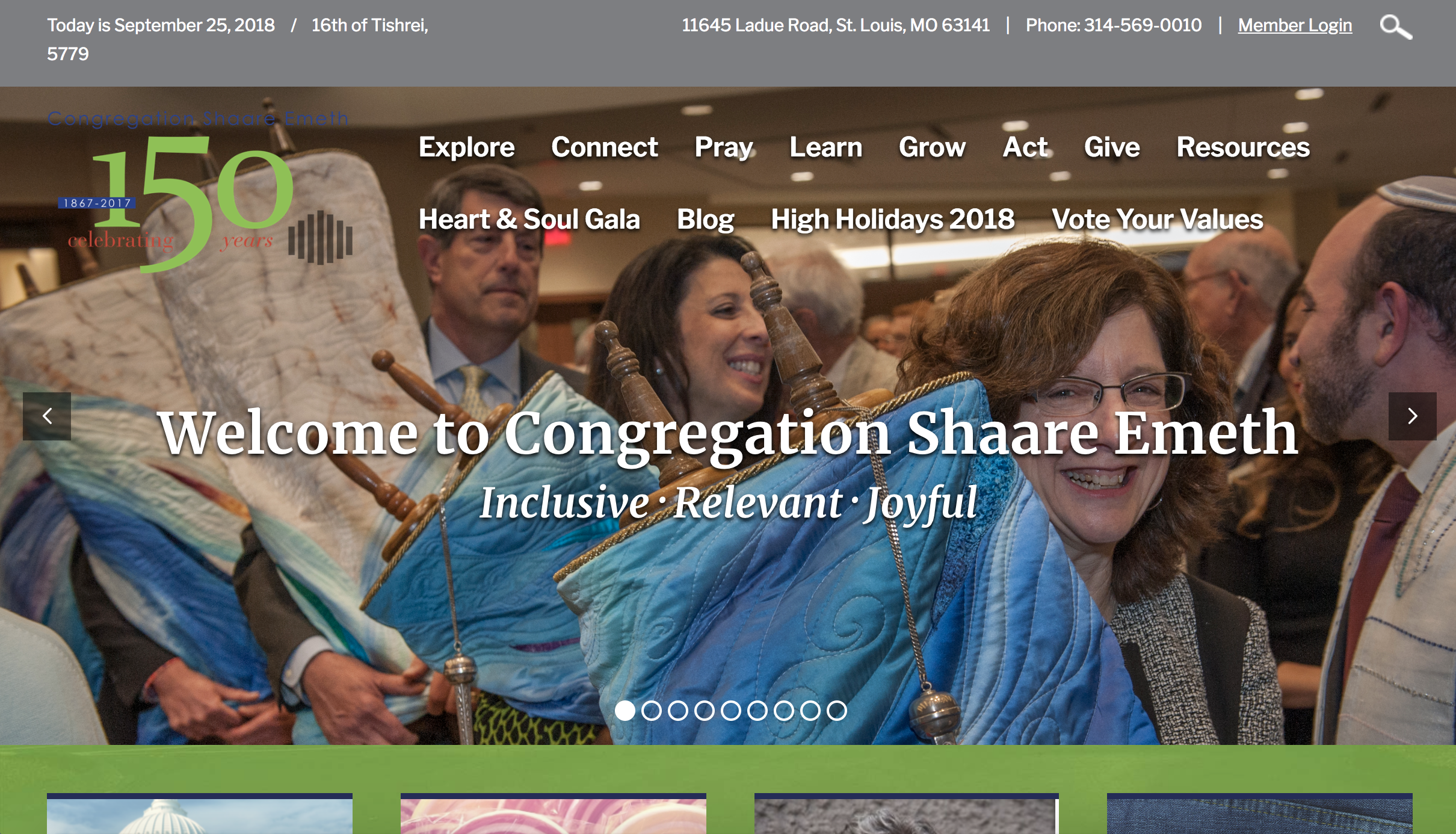 Homepage of Congregation Shaare Emeth