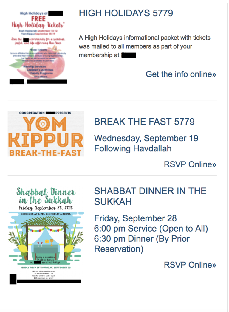 synagogue website with flyers