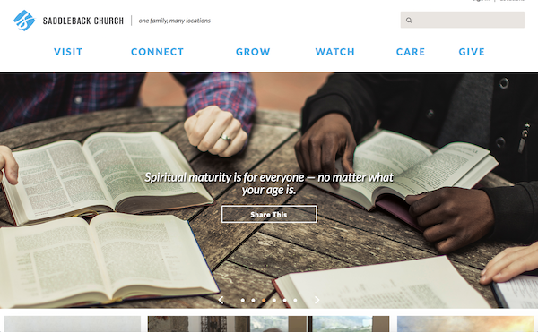 Saddleback Church - what synagogues can learn from church websites