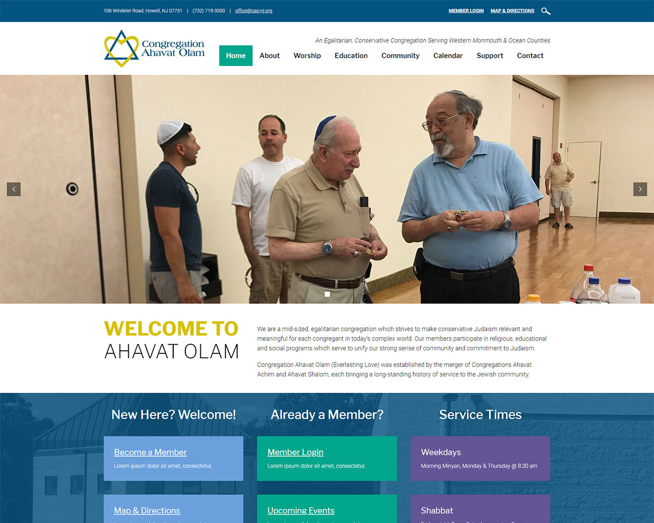 Congregation Ahavat Olam - synagogue website homepage