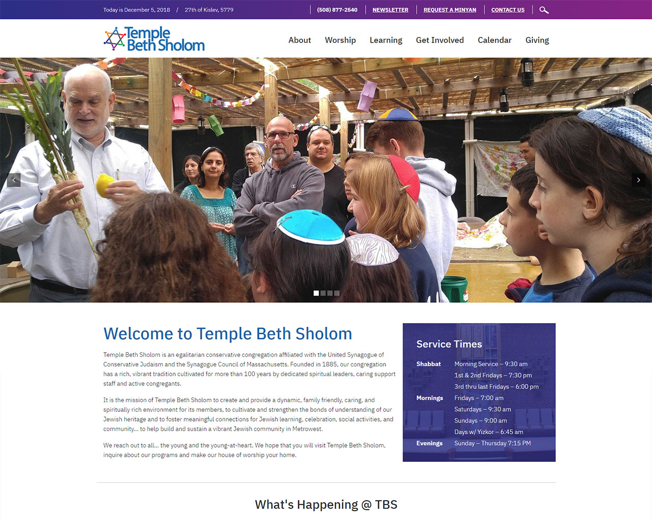 Temple Beth Sholom - synagogue website design homepage