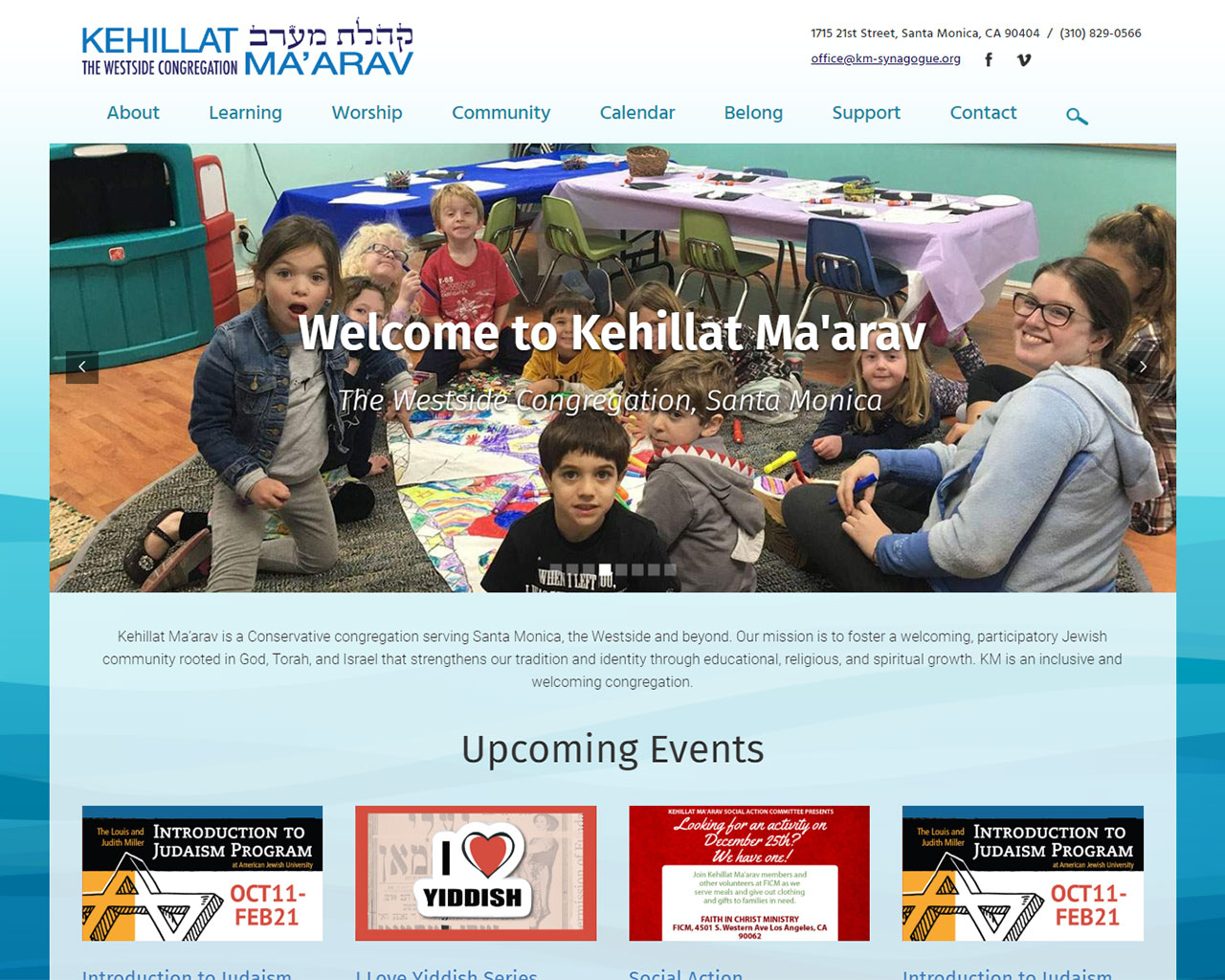Kehillat Maarav - synagogue website homepage