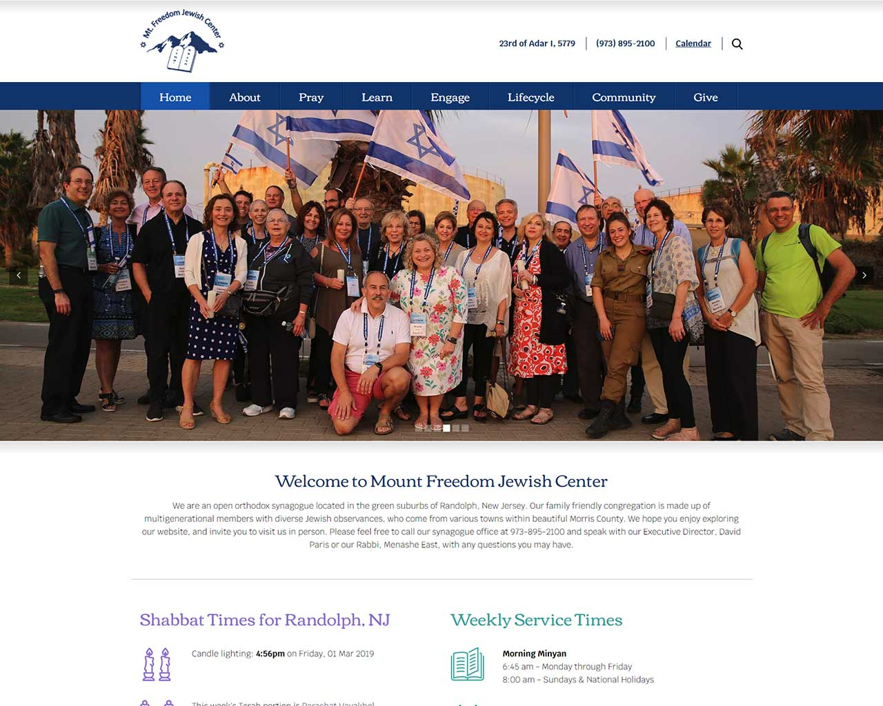 Mount Freedom Jewish Center - synagogue website design