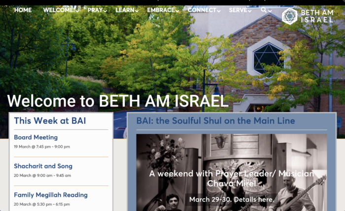 Beth-Am-Israel - conservative synagogue website