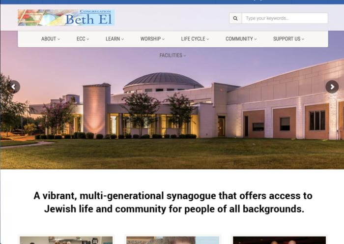 Congregation Beth El - best synagogue website