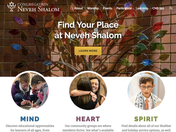 Neveh Shalom - best synagogue website - synagogue website design