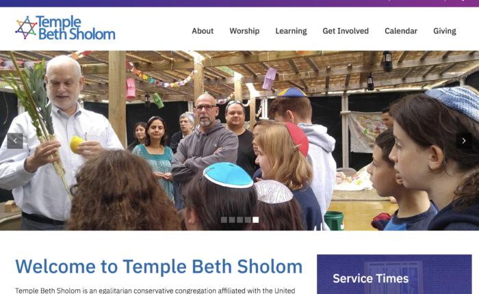 Temple Beth Sholom best website synagogue website design