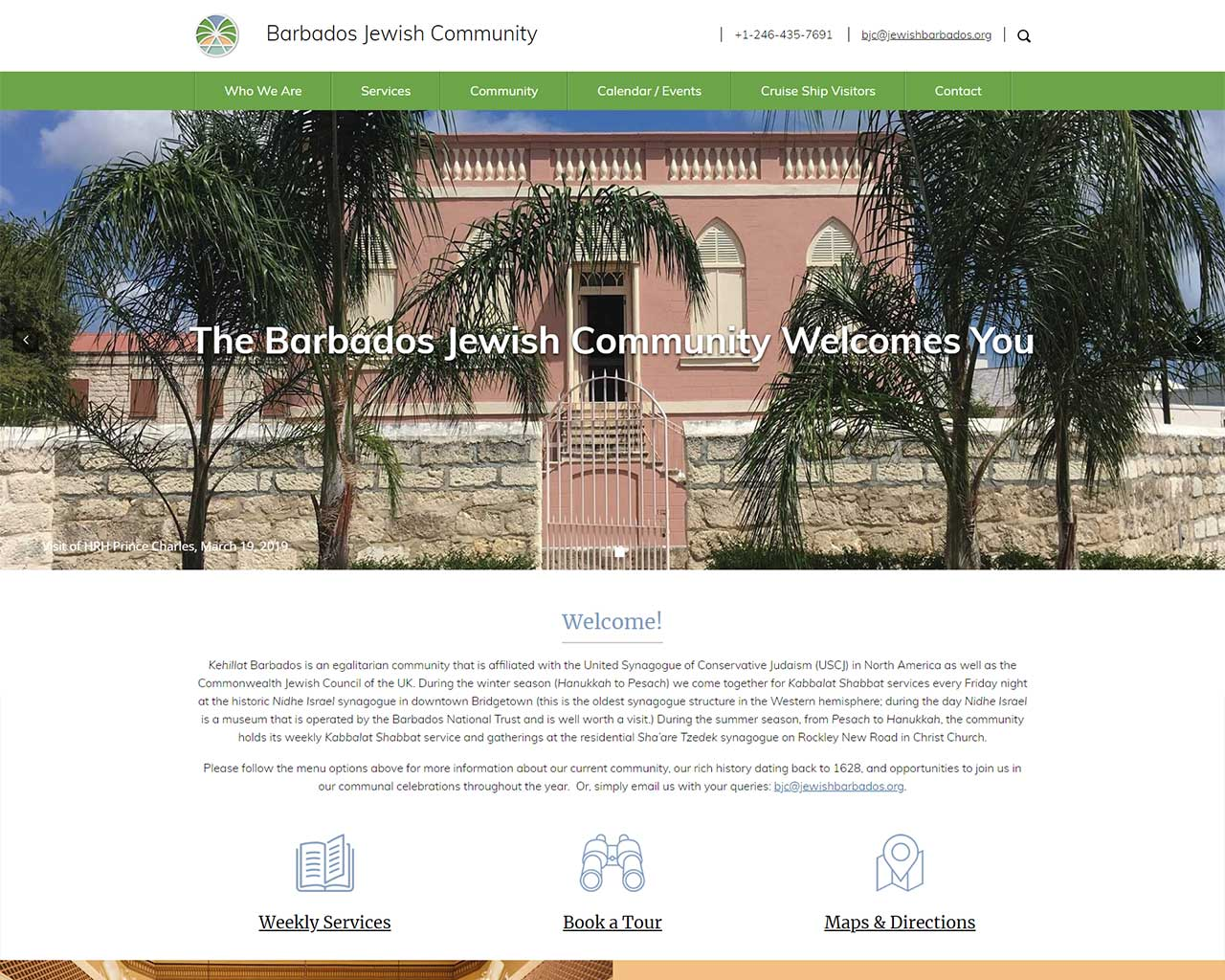 Barbados Jewish Community - synagogue website design
